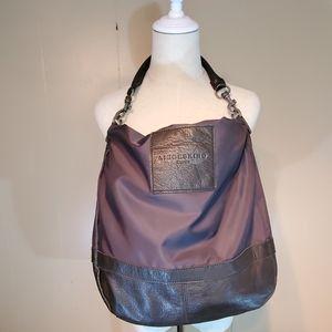 Liebeskind Berlin Brown Leather & Nylon Hobo Bag